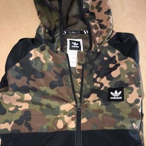 Adidas Mens Zip Windbreaker  L Camo EUC